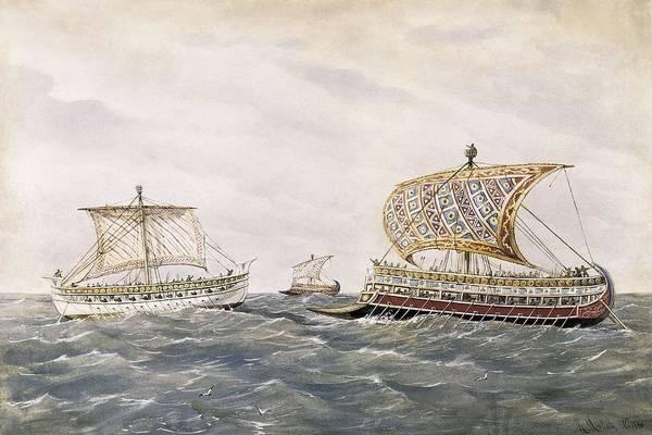 Navigation Art Print featuring the photograph Phoenician And Assyrian Battle Ships by Everett