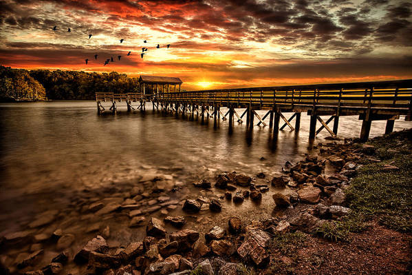 Pier Art Print featuring the photograph Pier At Smith Mountain Lake by Joshua Minso