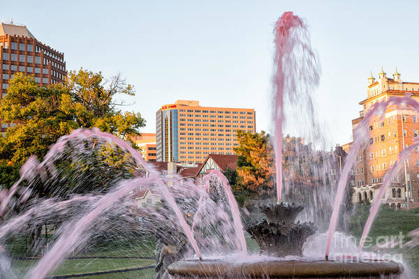 Fountain Art Print featuring the photograph Pink Fountain For Breast Cancer by Terri Morris