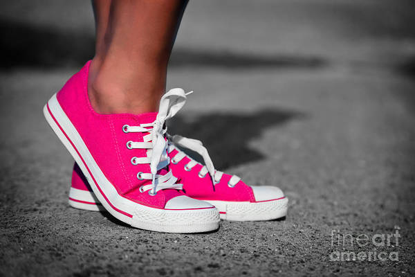 Girl Art Print featuring the photograph Pink Sneakers by Michal Bednarek