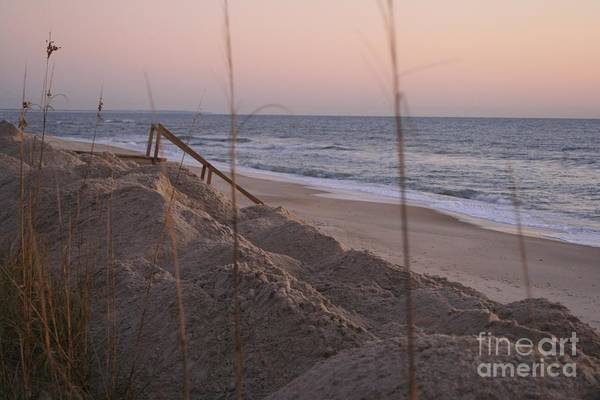 Pink Art Print featuring the photograph Pink Sunrise On The Beach by Nadine Rippelmeyer