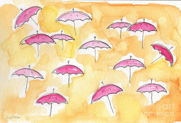 Umbrellas Art Print featuring the painting Pink Umbrellas by Linda Woods