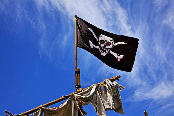 Pirate Flag Skull Banner Piracy Scull Robbers Terror Terrorist F Art Print featuring the photograph Pirate Flag On Ships Mast by Garry Gay