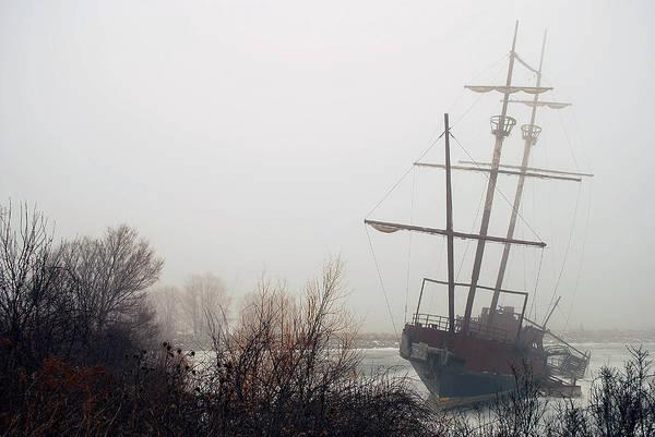 Fog Art Print featuring the photograph Pirate Ship by Les Lorek
