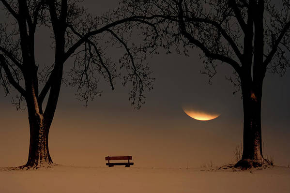 Moon Art Print featuring the photograph Place Of Silence by Ingo Dumreicher