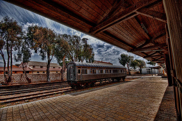 Kaballah Art Print featuring the photograph platform view of the first railway station of Tel Aviv by Ron Shoshani