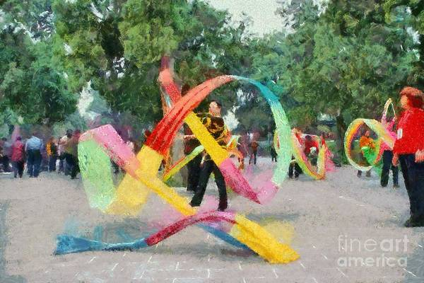 Paint; Painting; Paintings; Beijing; China; Asia; City; People; Woman; Women; Play; Playing; Ribbons; Temple Of Heaven; Park; Tiantan; Capital; Chinese; East; Eastern; Holidays; Vacation; Travel; Trip; Voyage; Journey; Tourism; Touristic Art Print featuring the painting Playing With The Ribbons by George Atsametakis