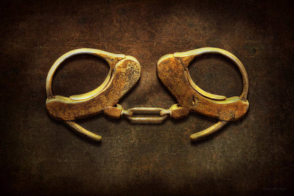 Handcuffs Art Print featuring the photograph Police - Handcuffs Aren't Always A Bad Thing by Mike Savad