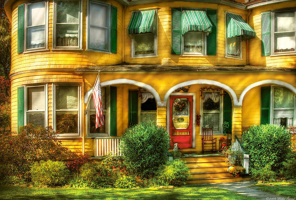 Savad Print featuring the photograph Porch - Cranford Nj - A Yellow Classic by Mike Savad