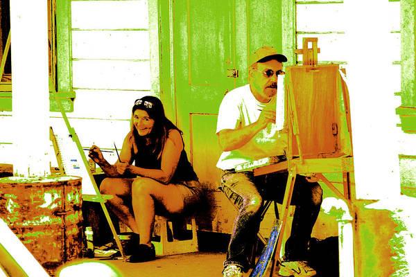 Digital Art Art Print featuring the digital art Portrait Of 2 Locke Artists by Joseph Coulombe