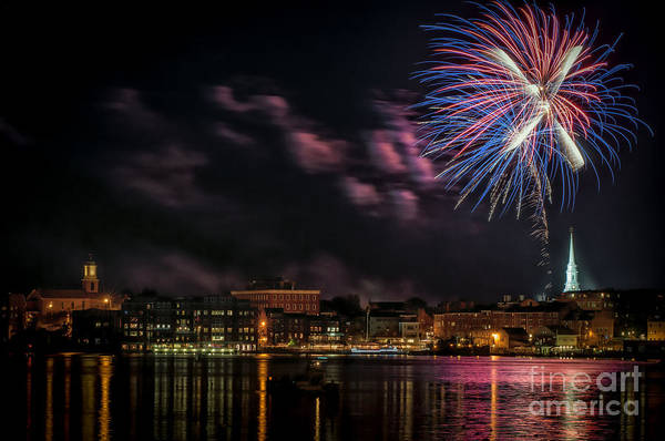 Portsmouth Art Print featuring the photograph Portsmouth Nh Fireworks 2013 by Scott Thorp