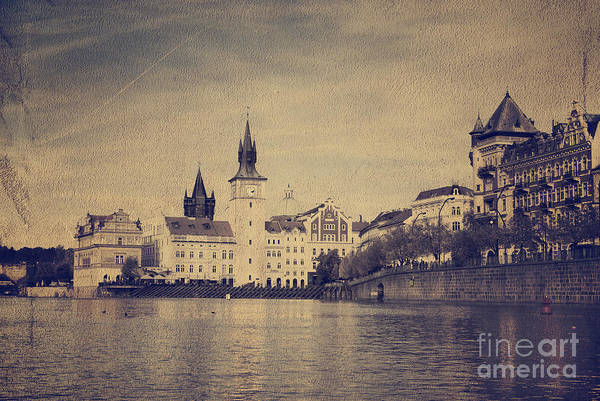 Vintage Art Print featuring the pyrography Prague by Jelena Jovanovic
