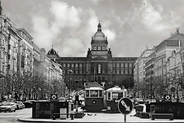 New Town Art Print featuring the photograph Prague Wenceslas Square And National Museum by Christine Till