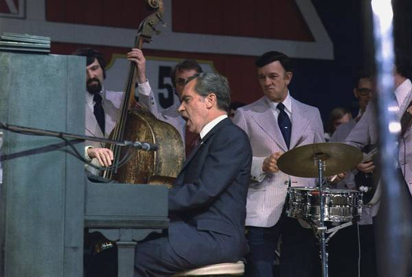 History Art Print featuring the photograph President Nixon Singing And Playing by Everett