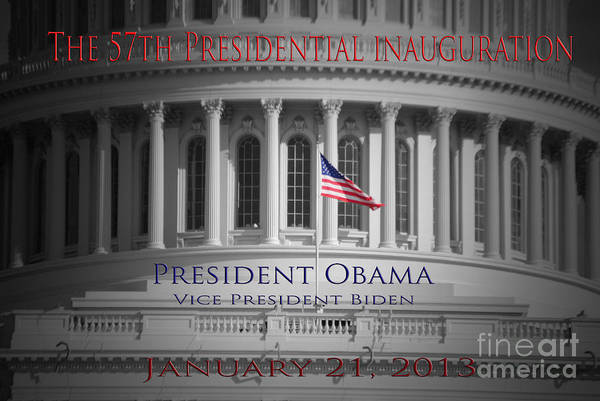Barack Print featuring the photograph President Obama Inauguration by Jost Houk