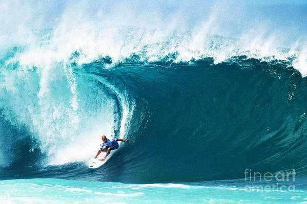 Kelly Slater Art Print featuring the photograph Pro Surfer Kelly Slater Surfing In The Pipeline Masters Contest by Paul Topp