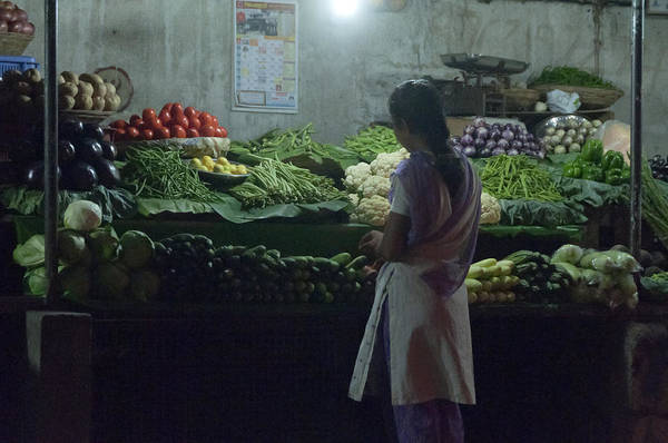 Pune Art Print featuring the photograph Produce Shop And The Owner by Scott Lenhart