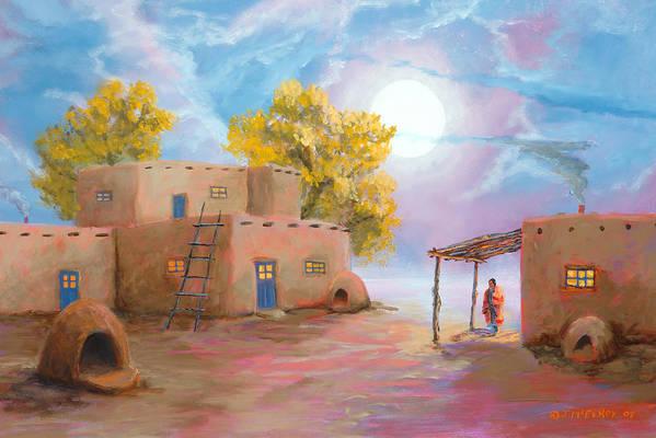 Pueblo Art Print featuring the painting Pueblo De Las Lunas by Jerry McElroy