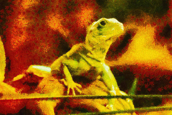 Lizard Art Print featuring the painting Queen Of The Reptiles by Ayse and Deniz