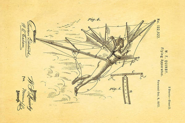 Aviation Art Print featuring the photograph Quinby Flying Apparatus 2 Patent Art 1872 by Ian Monk