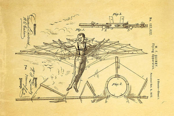 Aviation Art Print featuring the photograph Quinby Flying Apparatus Patent Art 1872 by Ian Monk