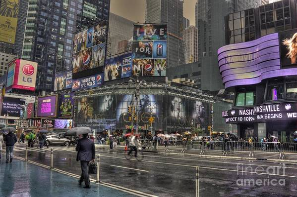 New York Art Print featuring the photograph Rainy Times Square by David Bearden