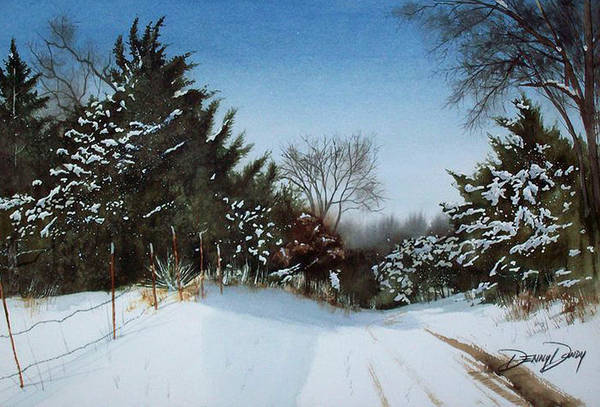 Snow Art Print featuring the painting Rattlesnake Road by Denny Dowdy