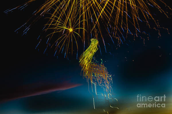 Fireworks Art Print featuring the photograph Rays Of Light From Above by Robert Bales