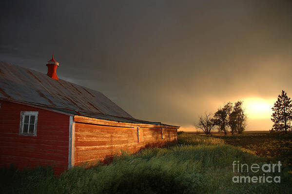 Barn Art Print featuring the photograph Red Barn At Sundown by Jerry McElroy