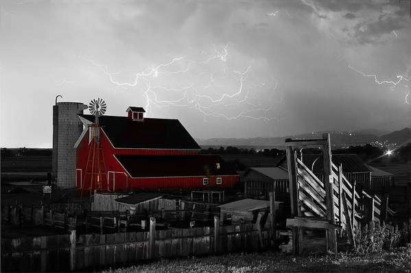 Lightning Art Print featuring the photograph Red Barn On The Farm And Lightning Thunderstorm Bwsc by James BO Insogna