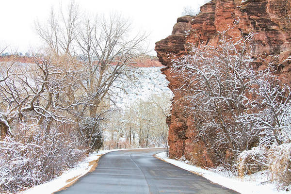 Red Rocks Art Print featuring the photograph Red Rocks Winter Landscape Drive by James BO Insogna