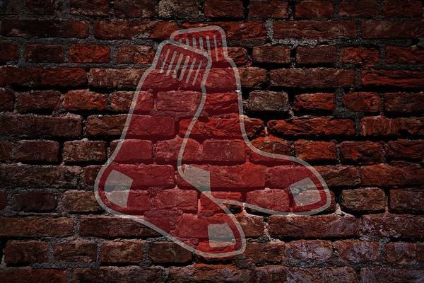 Baseball Art Print featuring the photograph Red Sox Baseball Graffiti On Brick by Movie Poster Prints