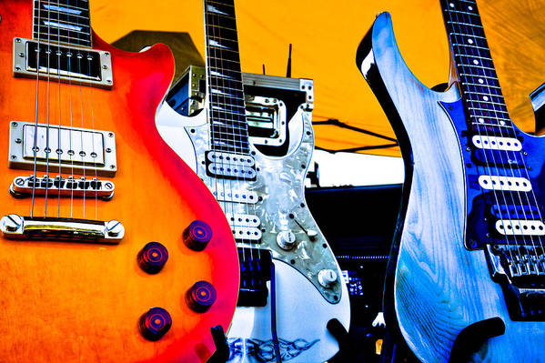 The Kingpins Art Print featuring the photograph Red White And Blue Guitars by David Patterson