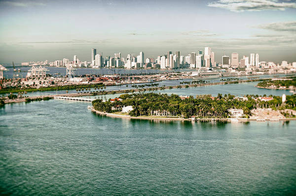Retro Art Print featuring the photograph Retro Style Miami Skyline And Biscayne Bay by Gary Dean Mercer Clark
