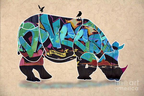 Rhino Art Print featuring the digital art Rhino 2 by Mark Ashkenazi