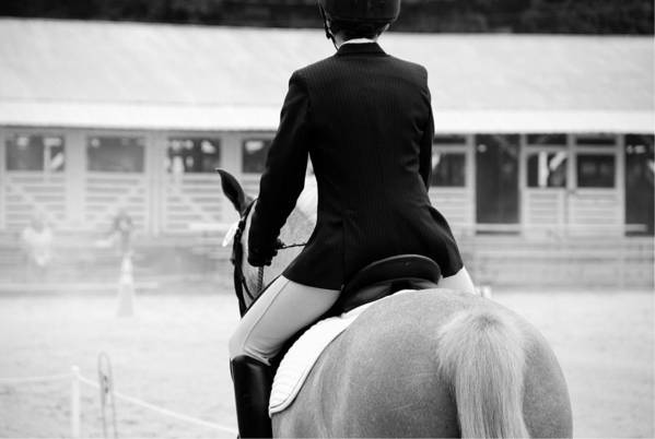 Horse Art Print featuring the photograph Rider In Black And White by Jennifer Ancker