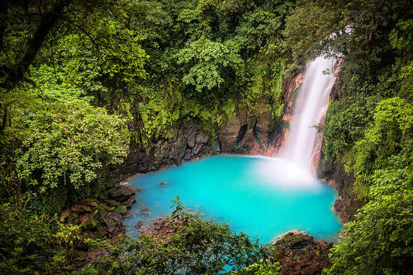 Attraction Art Print featuring the photograph Rio Celeste Waterfall by Andres Leon