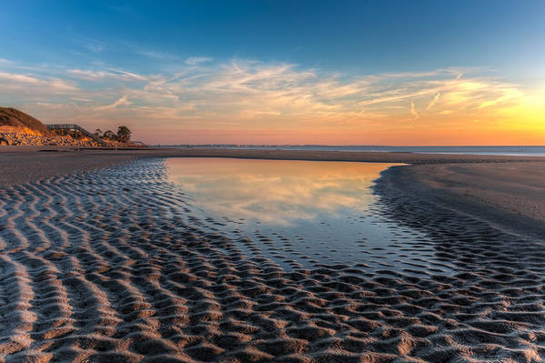 Clouds Art Print featuring the photograph Ripples In The Sand by Debra and Dave Vanderlaan
