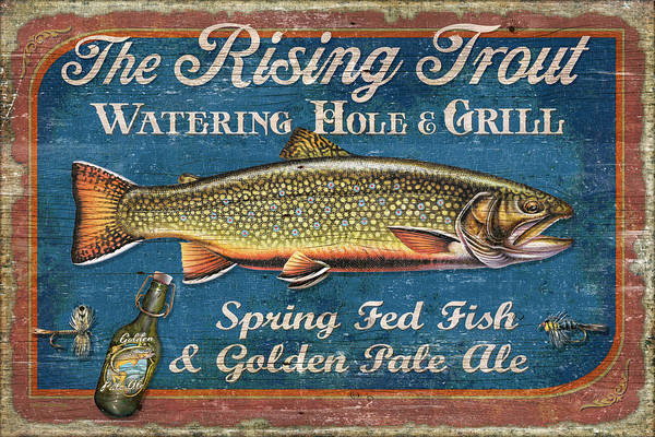 Jon Q Wright Art Print featuring the painting Rising Trout Sign by JQ Licensing