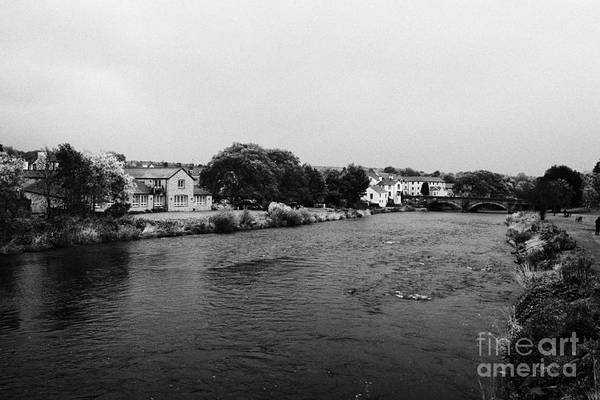 River Art Print featuring the photograph River Derwent On A Rainy Overcast Day Cockermouth Cumbria England by Joe Fox