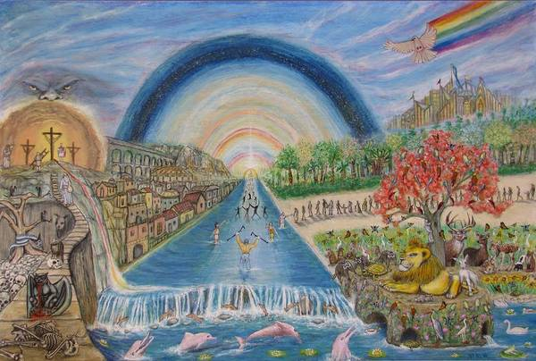 Christian Print featuring the mixed media River Of Life by Neal David Reilly
