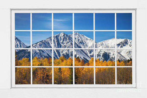 Window Art Print featuring the photograph Rocky Mountain Autumn High White Picture Window by James BO Insogna