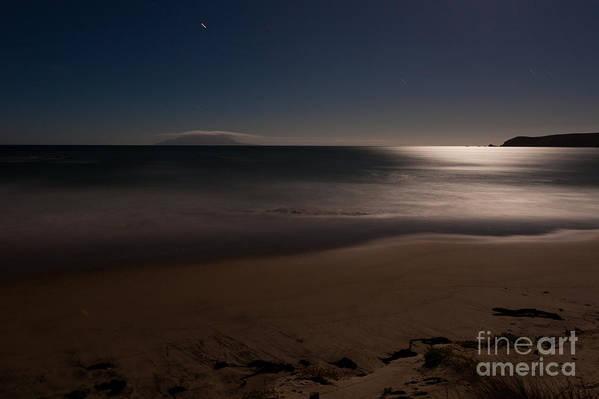 Background Art Print featuring the photograph Romantic Moonlight Ocean Sand Beach Long Exposure by Stephan Pietzko