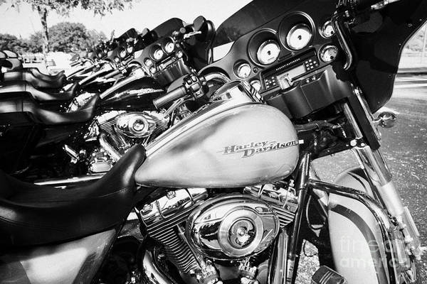Harley-davidson Art Print featuring the photograph Row Of Harley Davidson Street Glide Motorbikes Outside Motorcycle Dealership Orlando Florida Usa by Joe Fox