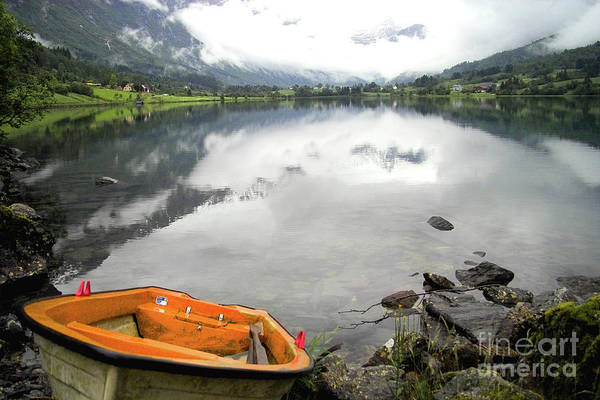 Europe Art Print featuring the photograph Row Your Boat To The Briksdalsbreen Glacier by Heiko Koehrer-Wagner