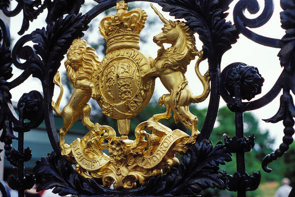 Wrought Iron Art Print featuring the photograph Royal Crest In London by Carl Purcell