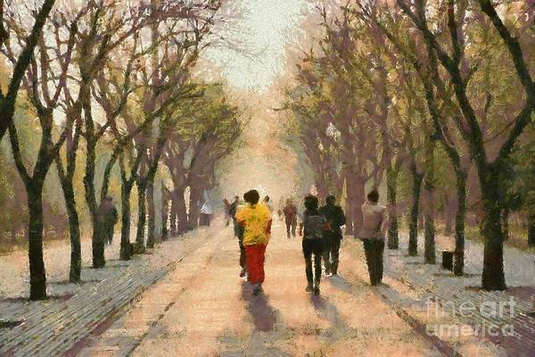 Beijing; China; Asia; City; People; Run; Running; Temple Of Heaven; Park; Tiantan; Practice; Practicing; Train; Training; Morning; Capital; Chinese; East; Eastern; Holidays; Vacation; Travel; Trip; Voyage; Journey; Tourism; Touristic; Paint; Painting; Paintings; Jog; Jogging Art Print featuring the painting Running Early In The Morning by George Atsametakis