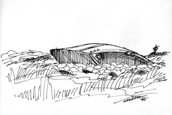 Monhegan Island Art Print featuring the drawing Rusty Shipwreck 1998 by Richard Wambach