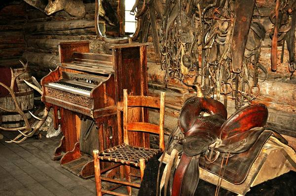 Piano Art Print featuring the photograph Saddle And Piano by Marty Koch