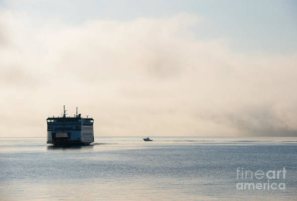Ferry Art Print featuring the photograph Salish Into The Fog by Mike Dawson